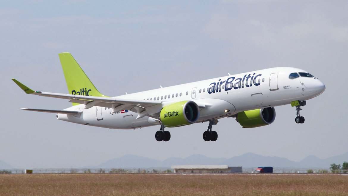 An airBaltic Airbus A220-300 landing at the Zhuhai Airshow. (Airbus/Twitter)