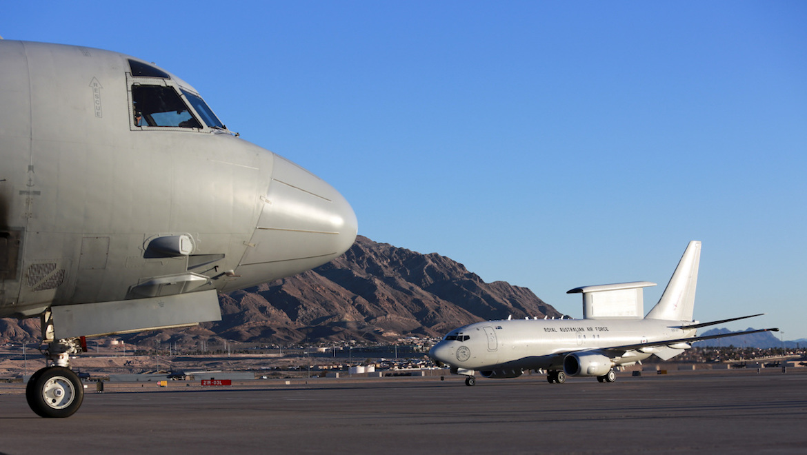 A file image of a RAAF AP-3C Orion (left) and E-7A Wedgetail on the ramp at Nellis AFB at RF 16-1 in 2016 (Defence)