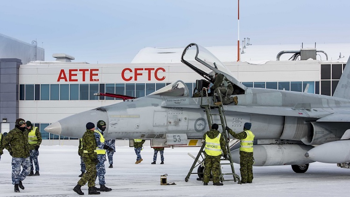 The first of two RAAF F/A-18As arrives at Canada's Aerospace Engineering Test Establishment – Canadian Flight Test Centre (AETE – CFTC) at 4 Wing Cold Lake, Alberta, on February 16. (Cold Lake Imagery/Canada)
