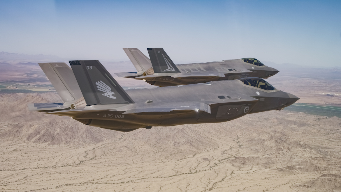 A pair of F-35s in the air. (Defence)