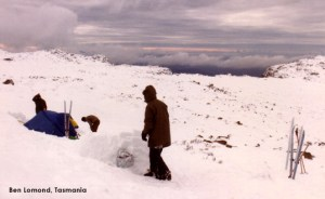 camping in snow