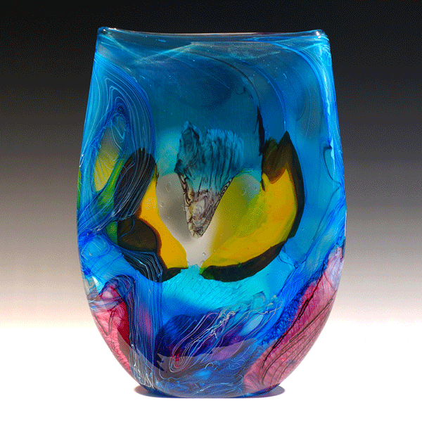 Azurian Macaw by Noel Hart. Hot Blown Glass