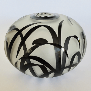 Beetle vase (black) by Amanda Louden. Blown and etched glass.
