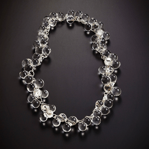 Double Ball necklace by Giselle Courtney. Flame formed glass and sterling silver fittings