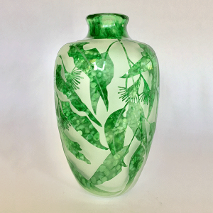 Eaten Gum vase (green) by Amanda Louden. Blown and etched glass.