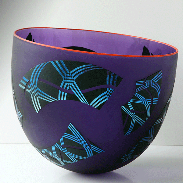 Feral Ballantini bowl by Robert Wynne. Blown and etched layered glass. Hyacinth.