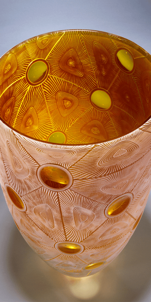 Golden Coral vessel by Kevin Gordon. Detail interior. Blown and carved glass