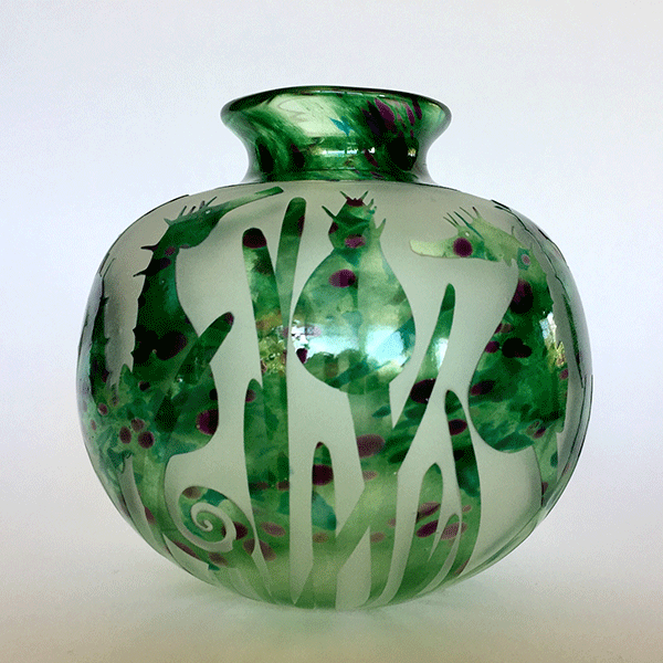 Seahorse vase (green) by Amanda Louden. Blown and etched glass