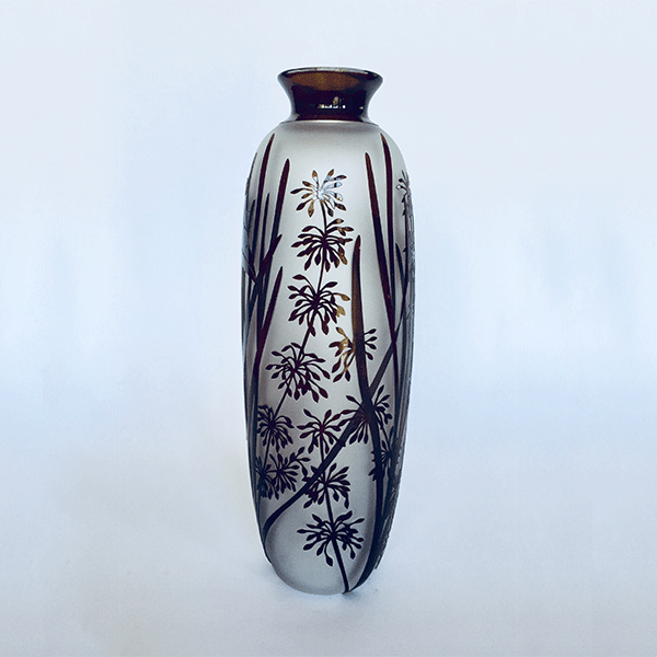 Grevillia Moth vase by Amanda Louden. Blown and etched glass.