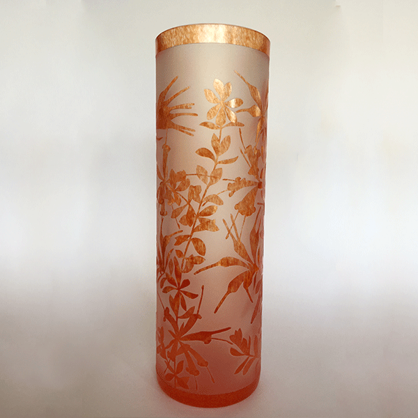 Honeysuckle cylinder vase by Amanda Louden. Blown and etched glass.