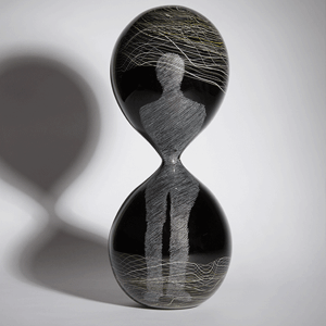 In Time by Laurel Kohut. Blown and engraved glass.