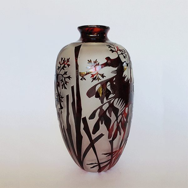 Leafy Sea Dragon vessel (red) by Amanda Louden. Blown and etched glass