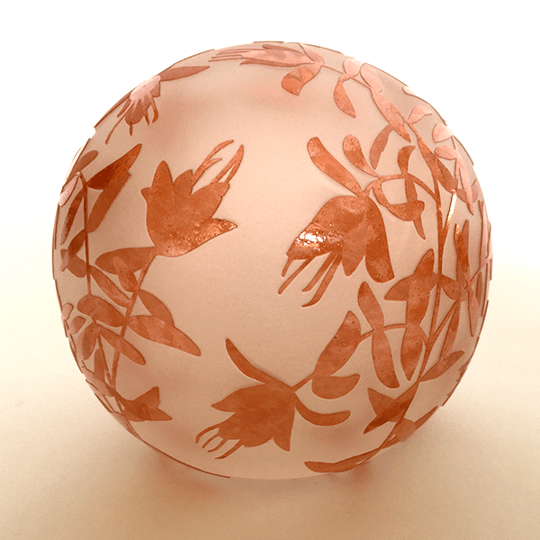 Lemon Scented Darwinia paperweight by Amanda Louden. Blown and etched glass