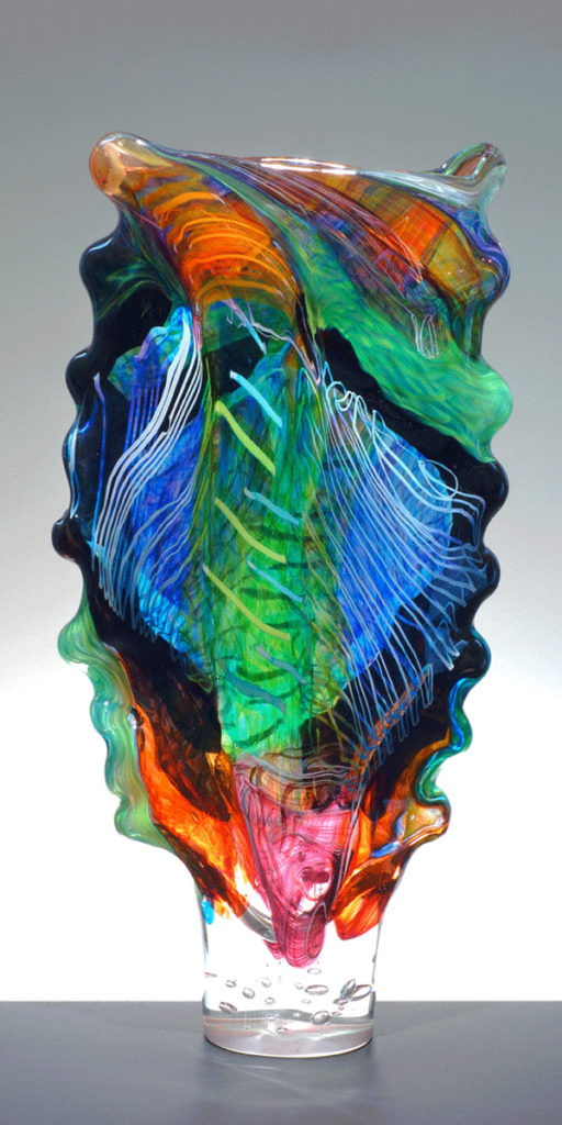 Luzon Hanging Parrot of the Sulu Archipelago by Noel Hart. Hot Blown Glass