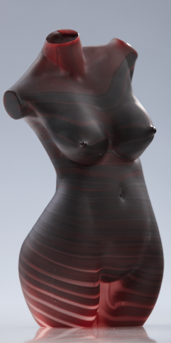 Dark Striped Female by Patrick Wong. Hot sculpted, etched glass.