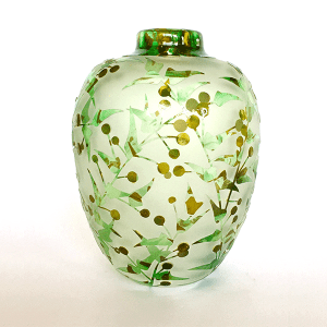 Ploughshare Wattle vase by Amanda Louden. Blown and etched glass