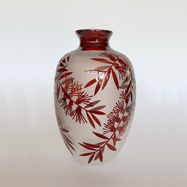 Bottlebrush vase (red) by Amanda Louden. Blown and etched glass.