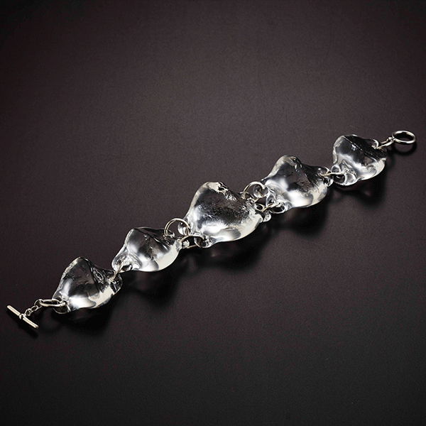 Rock Bracelet by Giselle Courtney. Flame formed glass and sterling silver fittings
