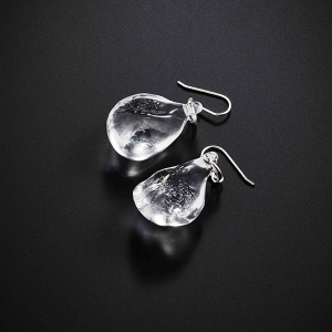 Rock Earrings by Giselle Courtney. Flame formed glass and sterling silver fittings.