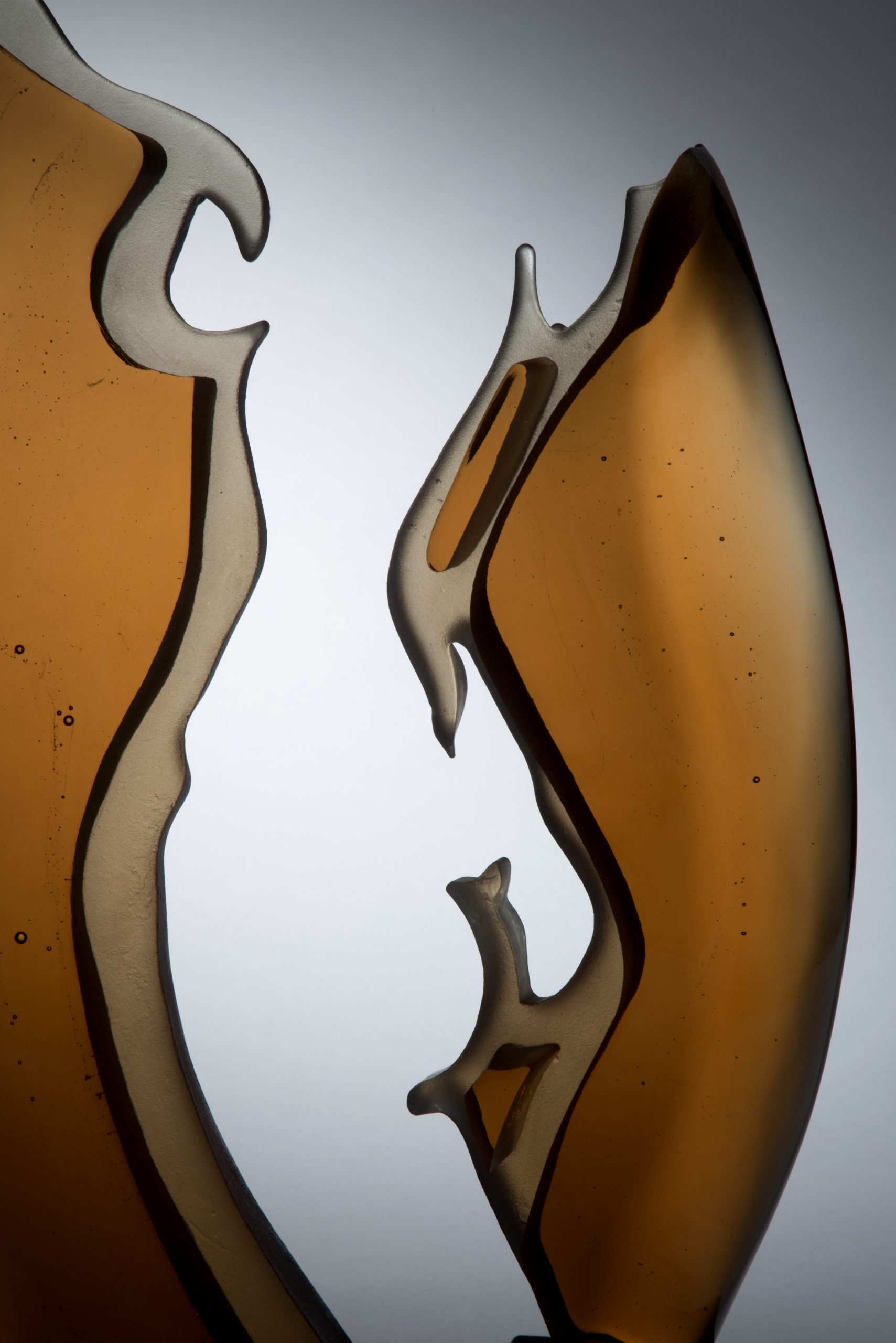 She Danced by Ruth McCallum Howell. Cast and hand polished glass. Detail