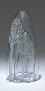 Yokoyama. Group of three. Handblown and engraved glass installation.