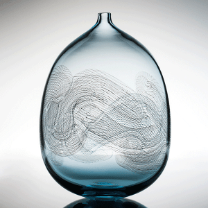 Swell vessel by Ben Idols. Blown Glass.