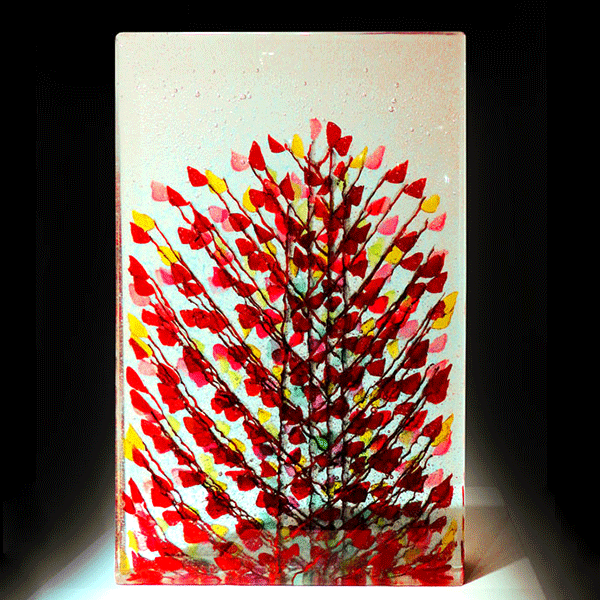 Ada November #5 by Emma Varga. Fused and cast glass sculpture. My places of green series. H 34cm x W 26cm
