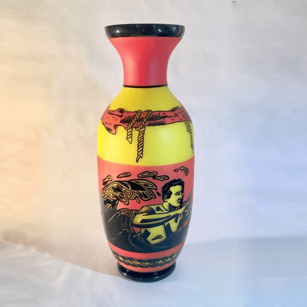 Saw Tide Rose, So Red It Was. Motherland-series. Scott Chaseling. Hot blown, overlaid and etched glass. H 56cm x W 22cm x D 22cm