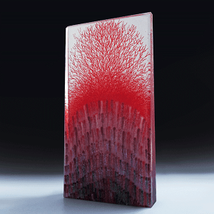 Tropical Red #1 sculpture by Emma Varga. Fused and cast glass H55cm x W28cm x D 6cm