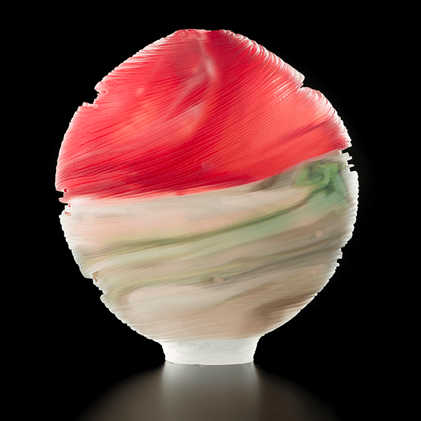 'Fire and Ice' by Tim Shaw. Blown and carved glass. H 38cm x W 36cm x D 10cm