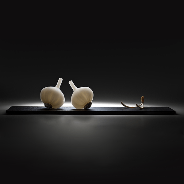 For speed strength and hope, by Nick Wirdnam. Blown and sculpted glass, limestone base Dimensions 60 x 17 x 15