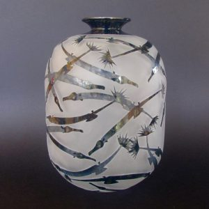 Southern Upsidedown Pipefish vase. Handblown and etched glass by Amanda Louden. H 23cm W 16.5cm