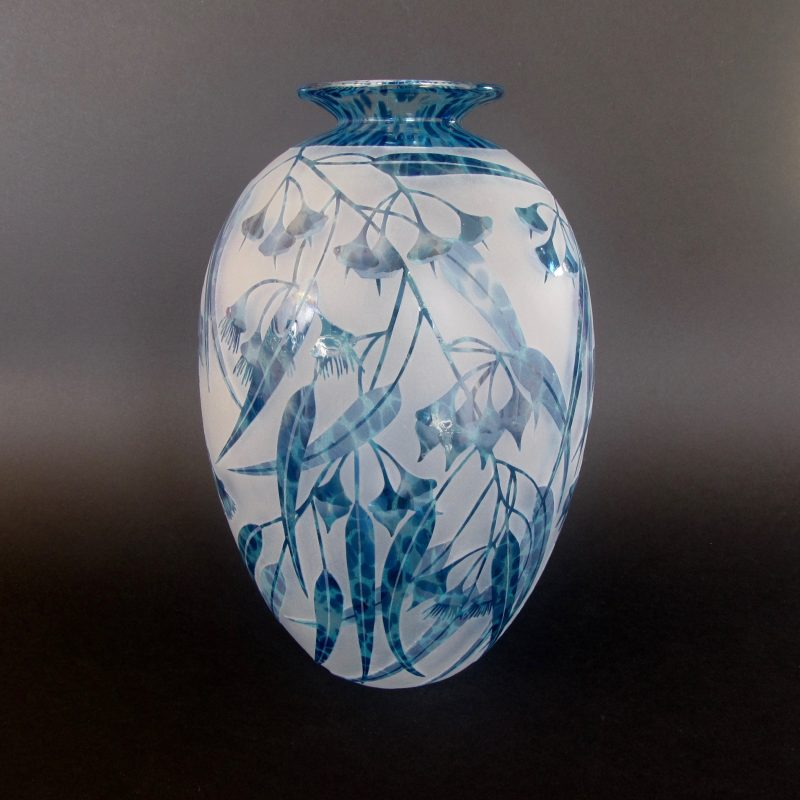 Silver mallet - Eucalyptus ornata vase. Handblown and etched by Amanda Louden. H 25cm x W 14cm