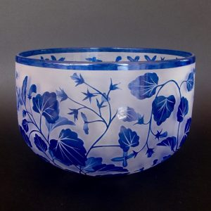 Forest Lobelia - Lobelia trigonocaulis bowl. Handblown and etched by Amanda Louden. H 15.5cm W 22.5cm