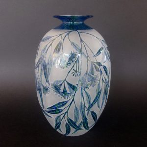 Weeping Gum - Eucalyptus sepulcralis vase. Blown and etched by Amanda Louden. H 22cm W13cm