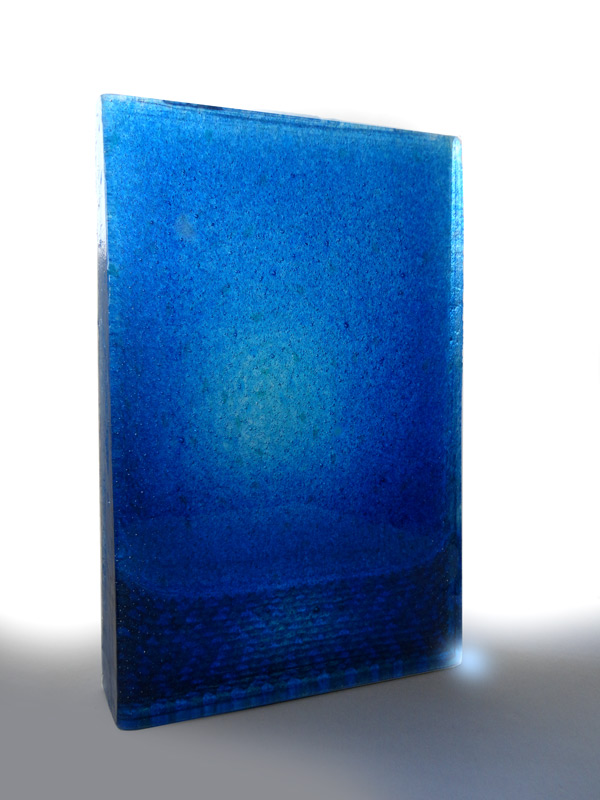 Blue World, Pacific Night by Emma Varga. Fused and cast glass. H 42cm x W 29cm x D 5cm