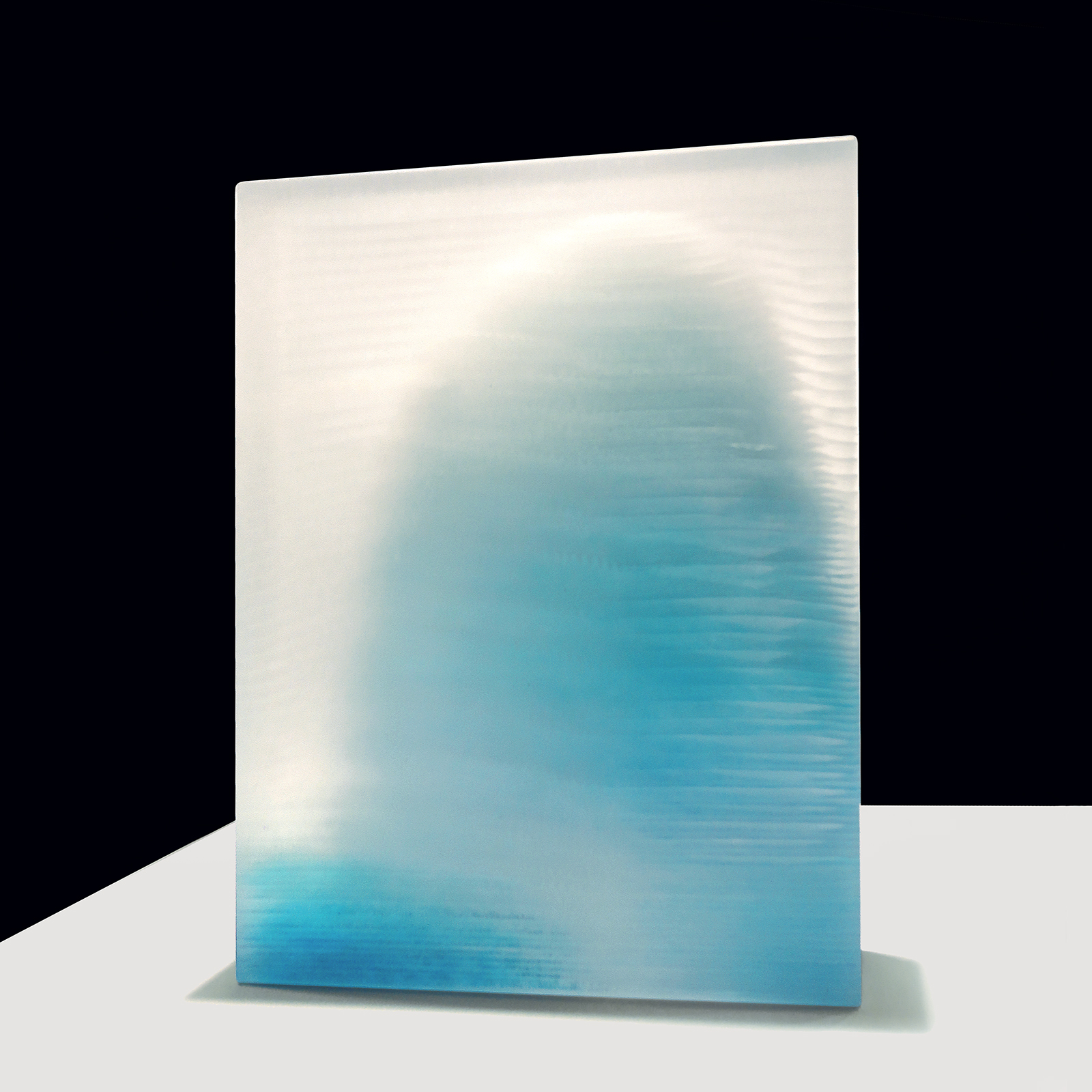 Frozen #4 by Emma Varga Fused and cast glass sculpture H 42cm x W 31cm x D 5cm