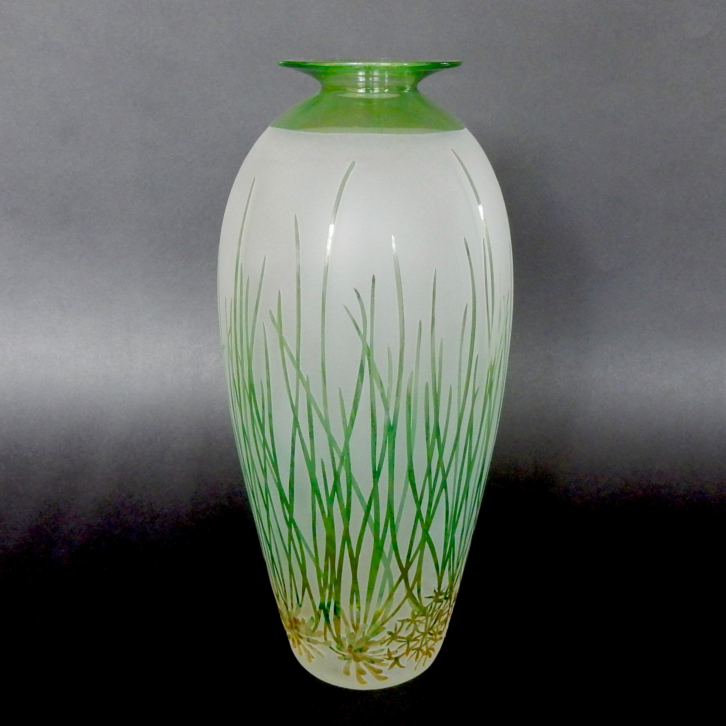 Petrophile longifolia vase by Amanda Louden. Blown and etched glass, H 285cm x W 155cm