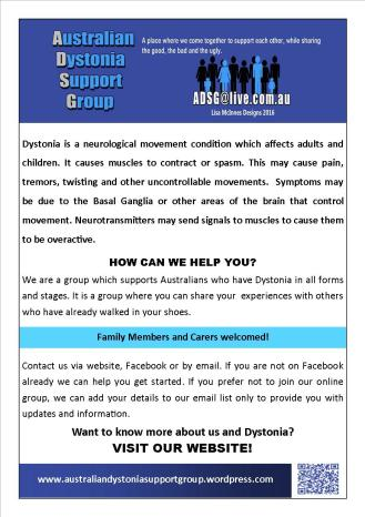 Australian Dystonia Support Group Dystonia A5 flyer