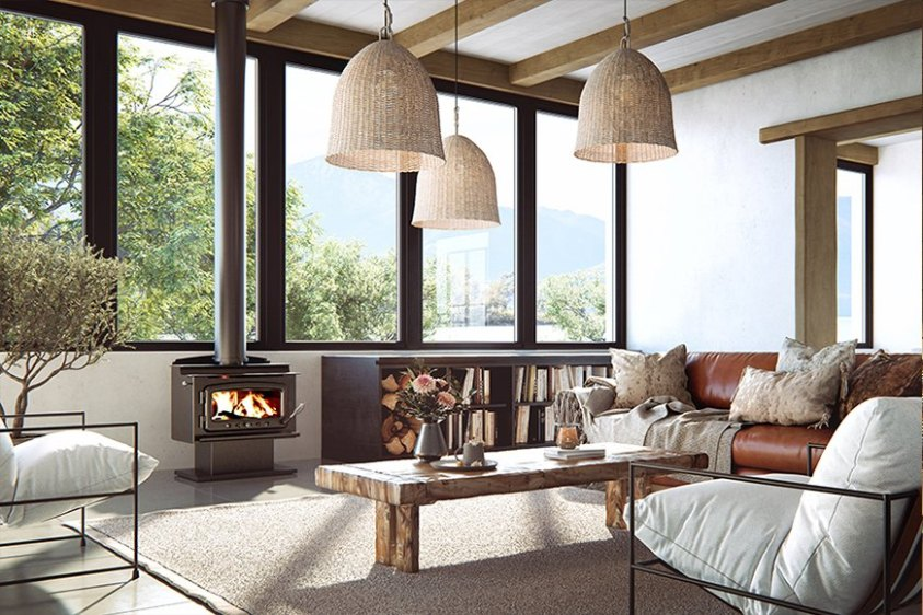 Nectre MK1 wood fired heater wood fire fire place autralian hydronics legs pedestal