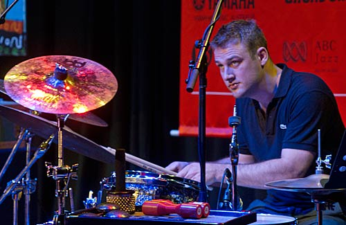 Sam Bates at drum kit