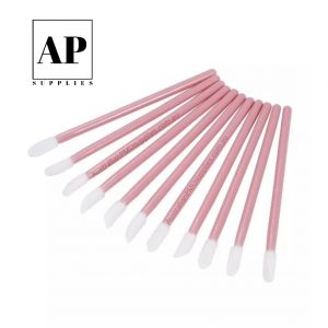 Fine Disposable Lip Applicator, Eyebrow and Eyeliner Brush – Light Pink (50 pcs)