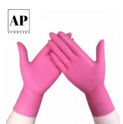 Nitrile gloves pink