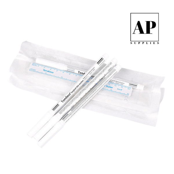 White Sterile Surgical Skin Marker with Sterile Surgical Ruler