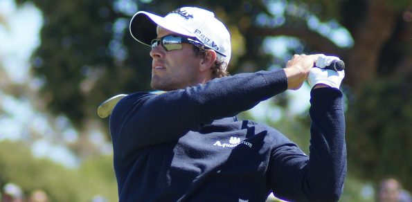 Adam Scott pictured on his way to victory at the 2012 Australian Masters at Kingston Heath. He'll be back in Melbourne in November to spread the joy of his historic US Masters victory