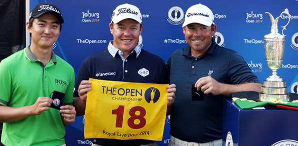 (L-R) Jin Jeong, George Coetzee and Justin Walters qualified for the British Open