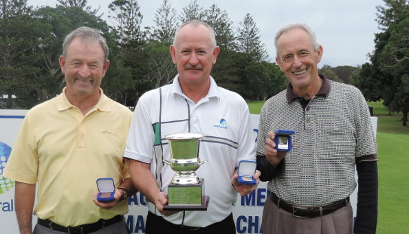 Matchplay finalists Vince Clark (3rd), Ian McPherson (champion), Trevor Box (runner-up)