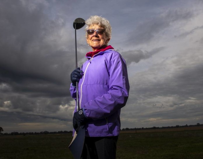 92 year old Betty Higgs ends the golf lockdown with her own 9 hole course