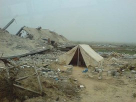 Palestinians often live in tents next to their demolished homes.