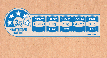 An example of HSR system food labelling. Source: http://www.healthstarrating.gov.au